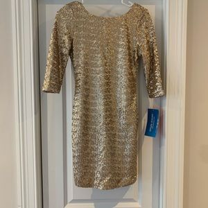 Gold, sequin mini dress from PromGirl